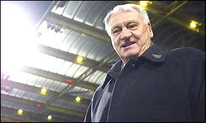 Newcastle manager Sir Bobby Robson smiles