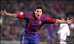Javier Saviola celebrates after giving Spanish giants Barcelona the lead in the seventh-minute