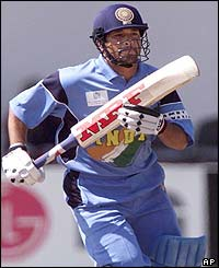 Sachin Tendulkar opens the Indian innings with some fine shots