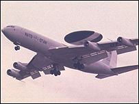 A Nato Awacs radar plane in flight
