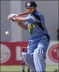 Virender Sehwag hits out on the way to a score of 36