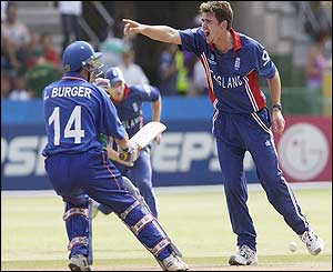 England's James Anderson the wicket of Stephan Swanepoel
