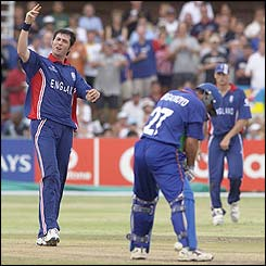 Ronnie Irani celebrates claiming the wicket of Bryan Murgatroyd