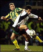 Fulham's Junichi Inamoto tussles with West Brom's Ronnie Wallwork