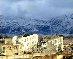 Quetta skyline showing the heavy snowfall in the mountains