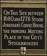 Plaque commemorating Jonathan's Coffee House