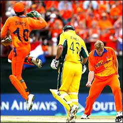 Holland's Tim de Leede celebrates taking the game's first wicket