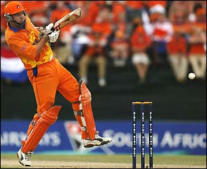 Holland's Jan Kloppenburg attempts to work the ball away for runs