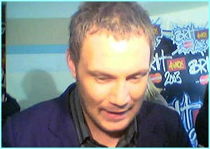 David Gray is snapped as he nervously waits to see if he's won Best Male