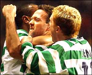 Celtic's Paul Lambert celebrates his 36th-minute equaliser