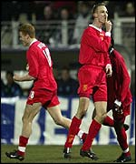 Liverpool's Sami Hyypia celebrates his winning goal