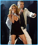 Kylie and Justin perform their raunchy duet at the Brits