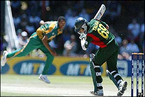 Bangladesh batsman Talha Jubair avoids a delivery from South Africa's Makhaya Ntini