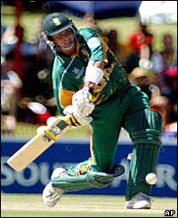 South Africa's Herschelle Gibbs hit a six