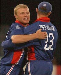 Andrew Flintoff is congratulated by Marcus Trescothick after he dismisses Younis Kahn
