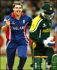 James Anderson celebrates taking a wicket against Pakistan