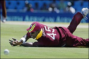 West Indies fielder Chris Gayle misses the ball