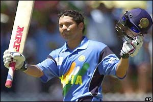 Tendulkar celebrates his century