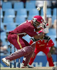 West Indies batsman Brian Lara ducks a bouncer