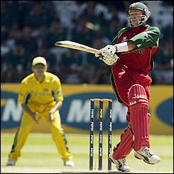 Zimbabwe's Andy Flower pulls the ball to the boundary