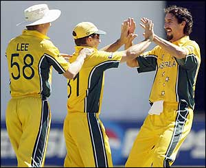 Jason Gillespie celebrates claiming the wicket of Zimbabwe's Guy Whittall