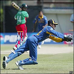 Kenyan batsman Brijal Patel edges the ball to Sri Lankan wicketkeeper Kumar Sangakkara