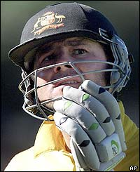 Ricky Ponting removes his helmet after being caught and bowled by Brian Murphy