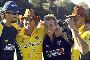 Jason Gillespie, Matthew Hayden, Brett Lee and Andrew Symonds celebrate Australia's win