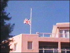 Flag at half-mast on British governor's residence