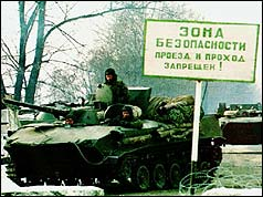 A Russian tank invades Chechnya