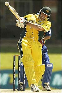 Australia's Matthew Hayden hits a ball towards the boundary