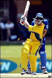 Australian batsman Matthew Hayden is bowled for 88 runs by Louis Burger