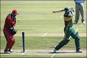 South Africa's Mark Boucher is bowled by Canada's Nicholas de Groot
