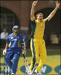 Glenn McGrath appeals for the wicket of Namibia's Bryan Murgatroyd