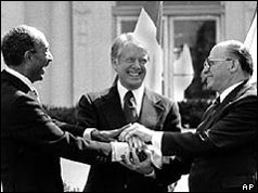 Begin and Sadat shake hands