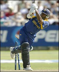 Hasan Tillakaratne is bowled by Wavell Hinds