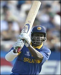 Sanath Jayasuriya of Sri Lanka in action