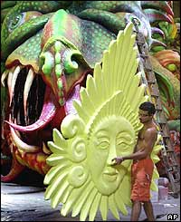 Rodrigo Bonan, a sculptor, prepares a float for carnival on Friday