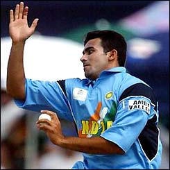 India's Zaheer Khan comes in to bowl