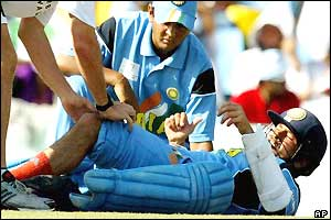 Sachin Tendulkar receives treatment during his innings against Pakistan