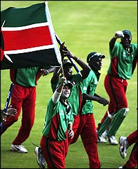 Kenya celebrate a victory that sees them qualify for the Super Six stage