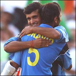 India captain Sourav Ganguly congratulates Rahul Dravid