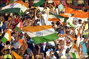 India supporters at Centurion celebrate an emphatic victory