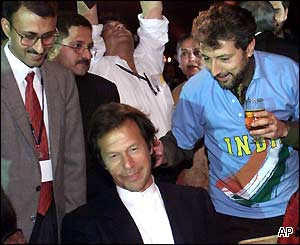 Former Pakistan cricket captain Imran Khan relaxes in New Delhi after the game