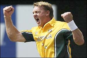 Andy Bichel celebrates bowling England captain Nasser Hussain