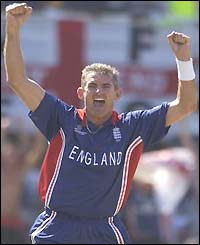 Andrew Caddick celebrates a wicket