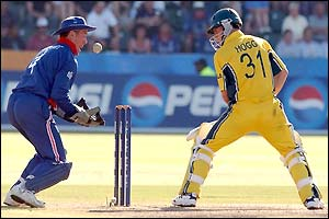 Alec Stewart catches Brad Hogg off his glove