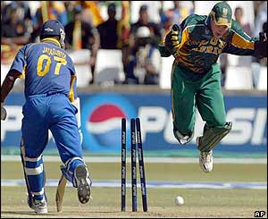 Sri Lankan batsman Sanath Jayasuriya is run-out after a mix-up with Marvan Atapattu