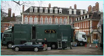 And another view you don't normally see - the TV vans gathered at the back of the Academy