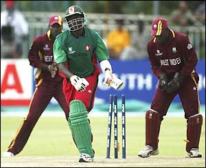 Peter Ongondo of Kenya looks dismayed after being bowled by Ricardo Powell
